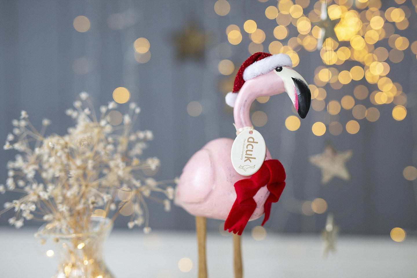 Painted Finish Festive Flamingo with Sparkly Hat & Scarf