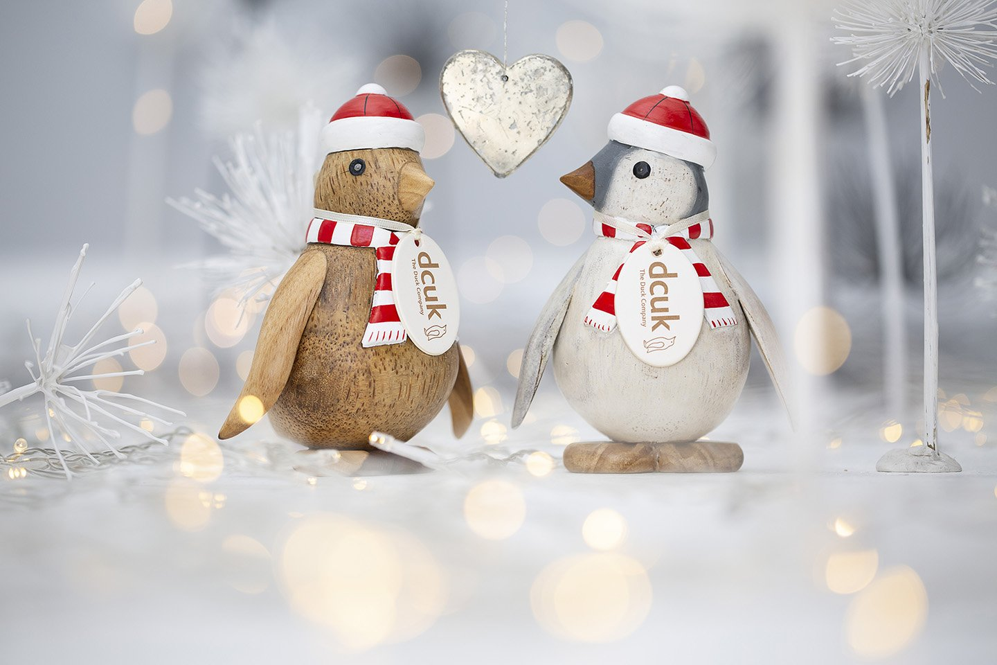 Wooden Baby Emperor Penguins with Hats & Scarves