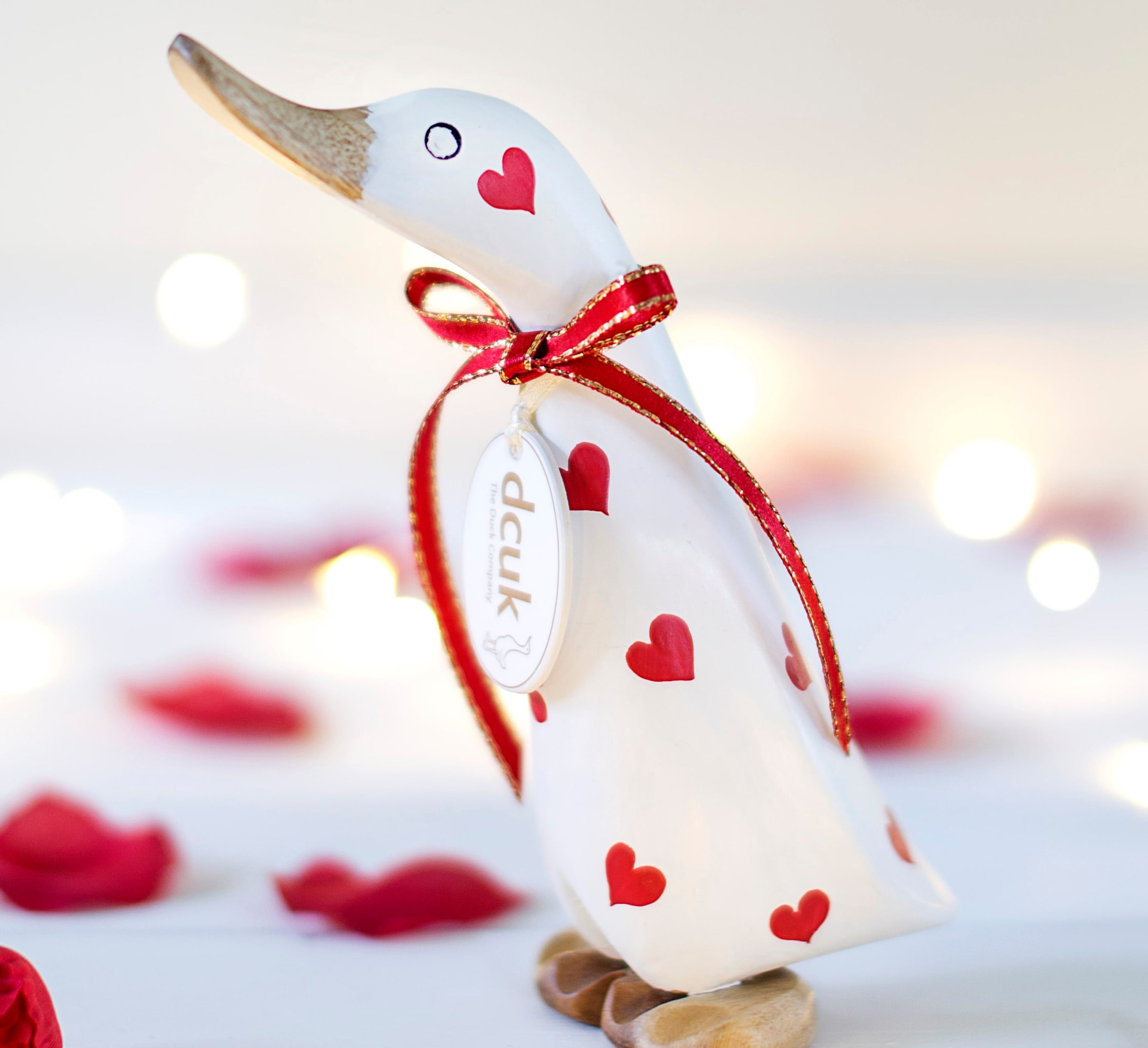 DCUK valentines white ducky with red love hearts and ribbon