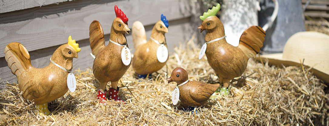Natural Finish Chickens with Cowboy Boots