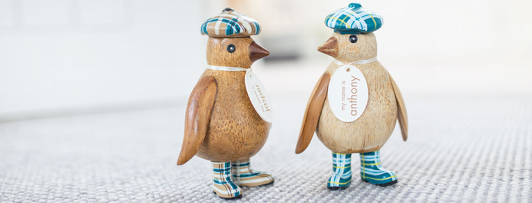 Natural Finish Baby Emperor Penguins with Welly Boots