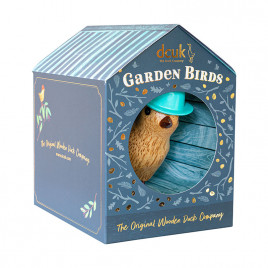 Flower Garden Bird with a Forget-Me-Not Blue Hat