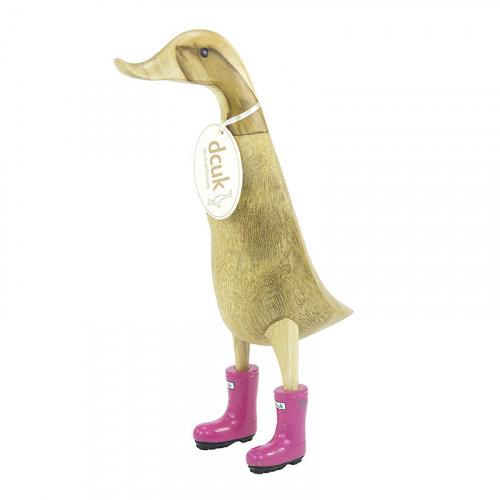 Wooden Coloured Welly Ducklet - Fuchsia Pink