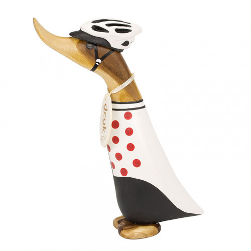 Wooden Cyclist Duckling - Polka Dot Jersey