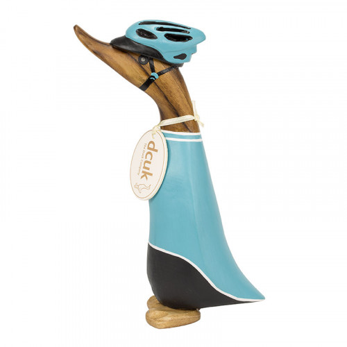 Wooden Cyclist Duckling - Turquoise Jersey