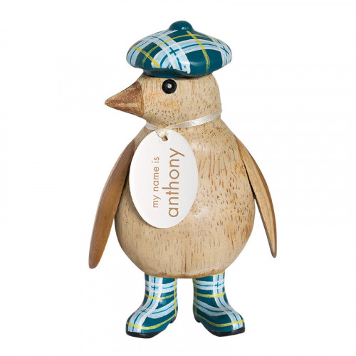 Wooden Natural Finish Baby Emperor Penguin with Blue Tartan Hat and Welly Boots