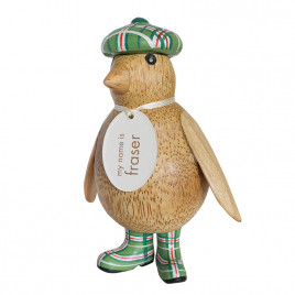 Natural Finish Baby Emperor Penguin with Green Tartan Hat and Welly Boots