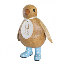 Natural Finish Baby Emperor Penguin with Baby Blue Spotty Welly Boots