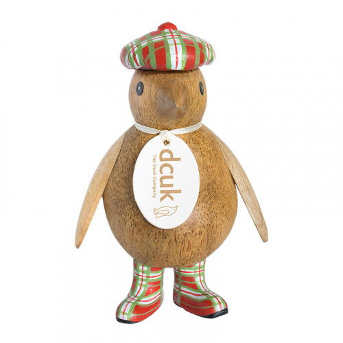 Wooden Natural Finish Baby Emperor Penguin with Red Tartan Hat and Welly Boots