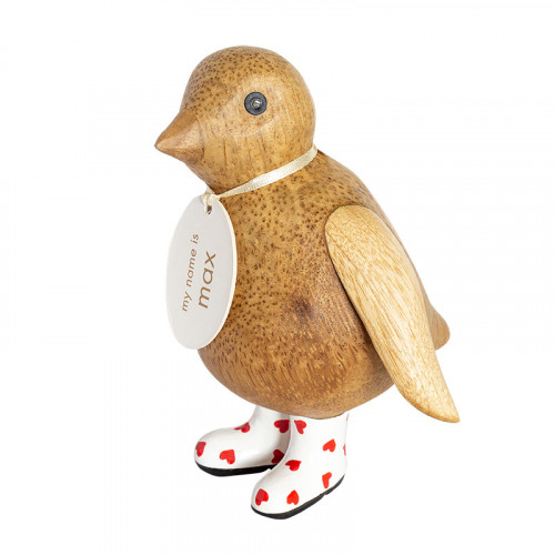 Wooden Natural Finish Baby Emperor Penguin with Red Heart Welly boots
