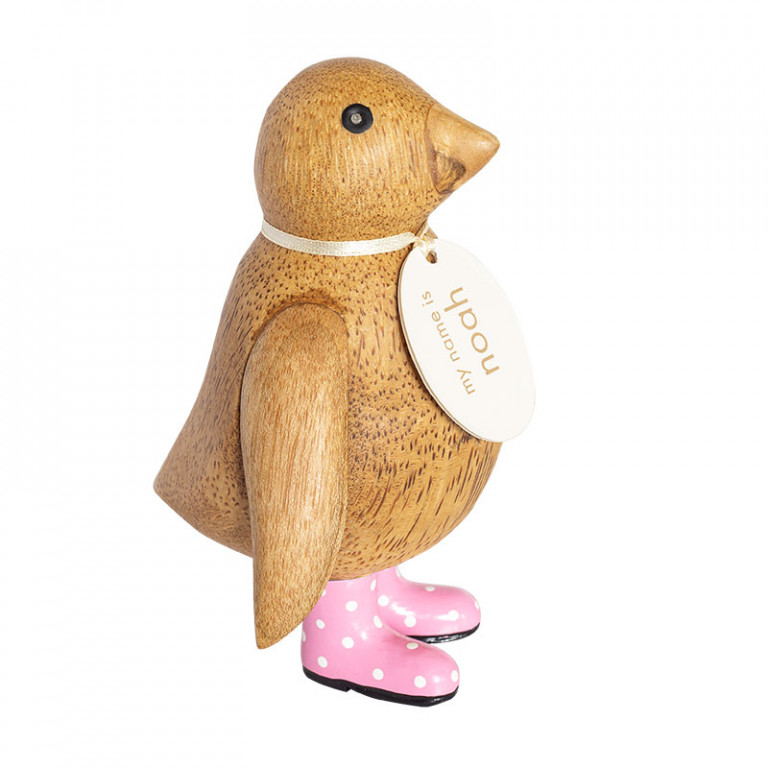 Natural Finish Baby Emperor Penguin with Pink Spotty Welly Boots