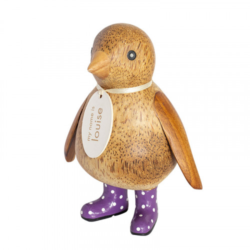 Wooden Natural Finish Baby Emperor Penguin with Purple Spotty Welly boots