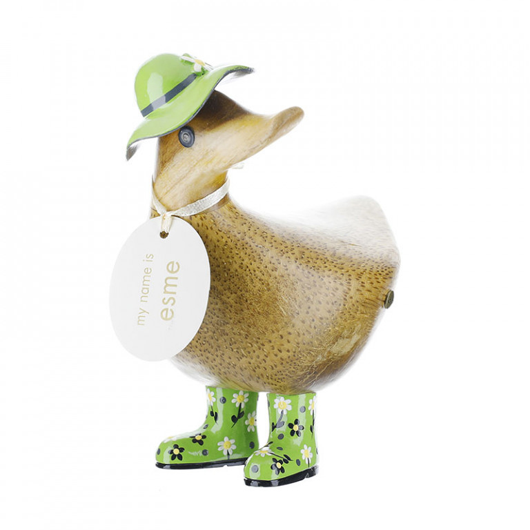 Ducky with Green Floral Hat and Welly Boots