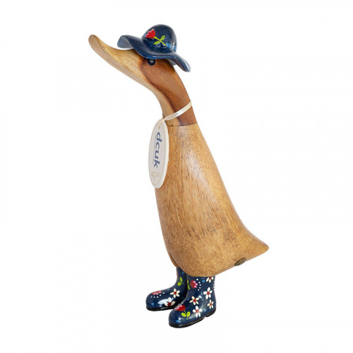 Floral Duckling with Blue Hat and Welly Boots