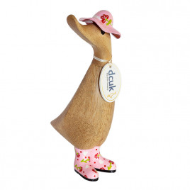 Floral Duckling with Pink Hat and Welly Boots