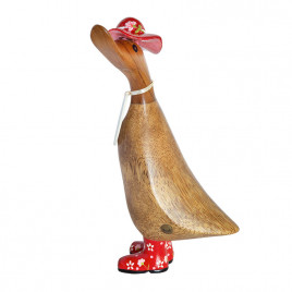 Floral Duckling with Red Hat and Welly Boots