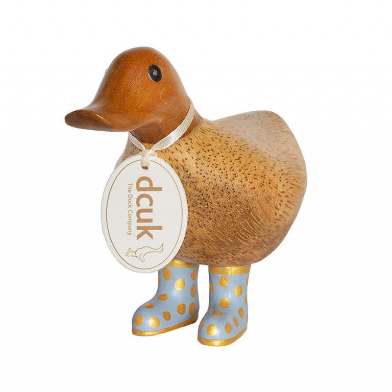 Natural Finish Ducky with Lilac and Gold Spotty Welly Boots