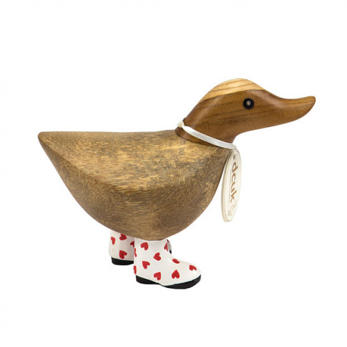 Wooden Natural Welly Walking Ducky - Red Heart