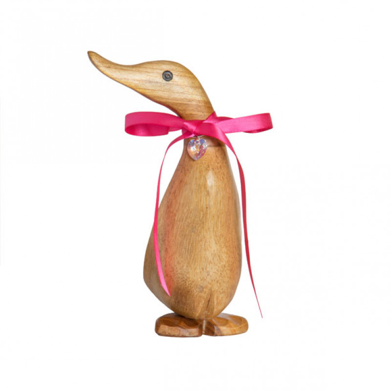 Wooden Personalised Natural Duckling with Crystal Heart - Pose 1
