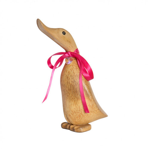 Wooden Personalised Natural Duckling with Crystal Heart - Pose 6