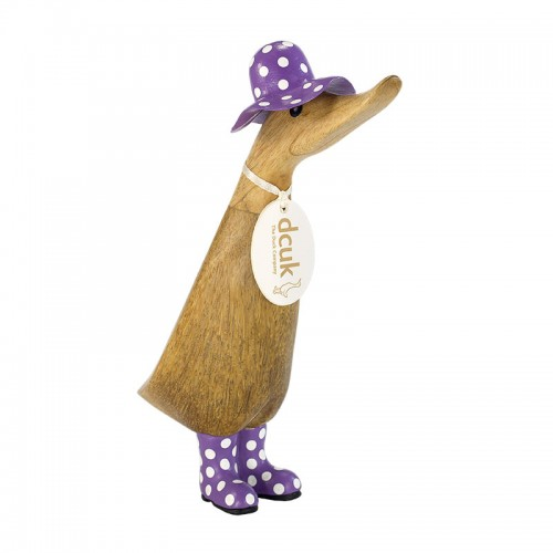Wooden Duckling - Natural Finish in a Spotty Purple Hat and Welly Boots