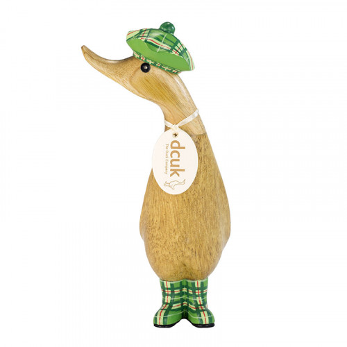 Wooden Natural Finish Duckling with a Green Tartan Hat & Welly Boots