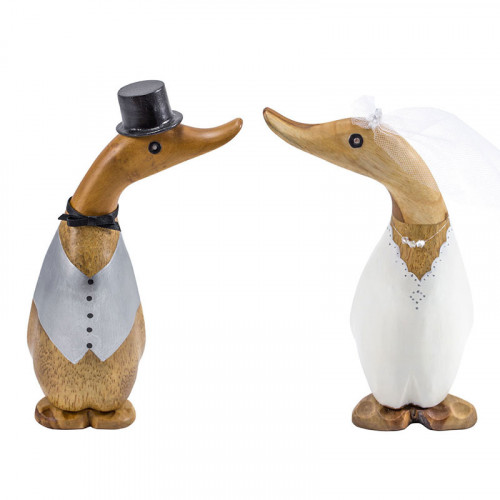 Wooden Wedding Gift Ducklings - Top Hat and Black Coat