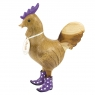 Natural Finish Cockerel with Purple Spotty Cowboy Boots