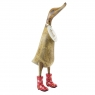 Natural Finish Ducklet with Red Floral Welly Boots
