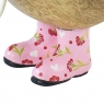 Natural Finish Ducky with Pink Floral Welly Boots