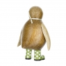 Natural Finish Baby Emperor Penguin with Green Spotty Welly Boots