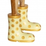 Natural Finish Ducklet with Yellow and Gold Spotty Welly Boots