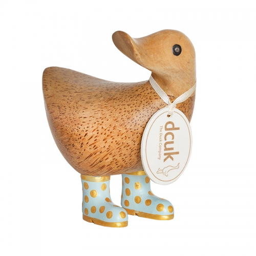 Natural Finish Ducky with Duck Egg Blue and Gold Spotty Welly Boots