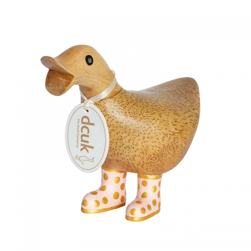 Natural Finish Ducky with Pink and Gold Spotty Welly Boots