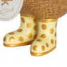 Natural Finish Ducky with Yellow and Gold Spotty Welly Boots