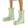 Natural Finish Ducklet with Pastel Green and Gold Spotty Welly Boots