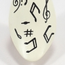 Painted Finish White Music Notes Duckling with Black Ribbon