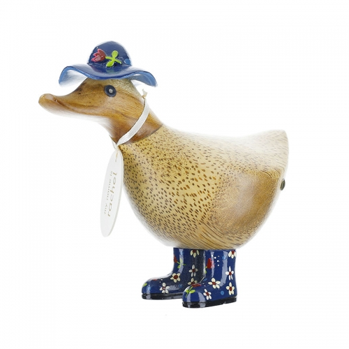 Ducky with Blue Floral Hat and Welly Boots