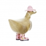 Ducky with Pink Floral Hat and Welly Boots